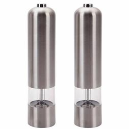 2pcs Stainless Steel Electric Automatic Pepper Mills Salt Gr