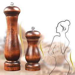 Hand Movement Wood Salt Pepper Mill Spice Grinder Wooden Pot