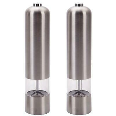 2 Pack Electric Spice Salt Pepper Mill Grinder Stainless Ste