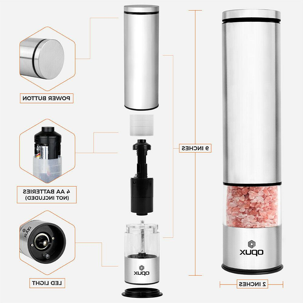 Salt and Pepper Electric Mill Stainless Steel Adjustable