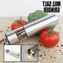 Pair Stainless Steel Electric Salt Pepper Mills Grinders Kit