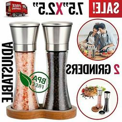 Salt and Pepper Grinders Mills Set Glass Shakers Stainless S