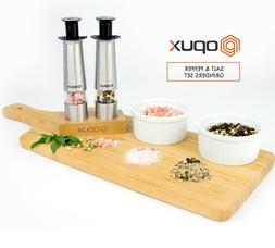 Salt and Pepper Grinder Set With Bamboo Stand by OPUX | Styl