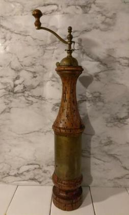 Vintage 50's Pepper Grinder Mill Peppermill Wood & Copper 18